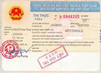 Cấp mới visa vào Việt Nam loại 3 tháng 1 lần